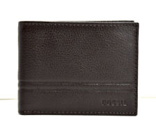 Fossil Mens Bifold Leather Card Wallet with ID Window Brown