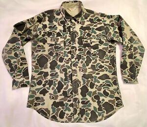 VTG Cabela's Duck Camo Chamois Long Sleeve Camouflage Shirt Sz L Tall Flannel