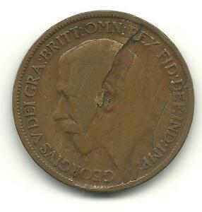 1920 HALF-PENNY ERROR COIN LARGE OBVERSE LAMINATION - REDUCED SHIPPING