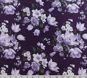 Purple Lavender Lilac Floral Cotton Quilting Fabric Gallery Choice Prints