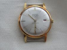NOS Vintage  HERNA  17J  Men's Extra Flat Gold Tone Watch w/Date