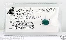 1.01 carat Bright Medium Green Emerald Loose Gemstone Certified