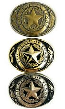 🌟State Seal Of Texas Lone Star Western Belt Buckle, Small, Gold Silver Or Brass