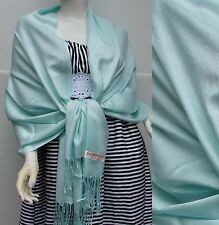 NEW Women Solid Pashmina Wrap Stole Cashmere Wool Shawl/Scarf Soft Light Slate