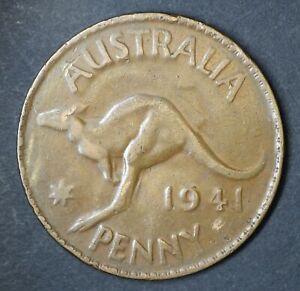 Australia 1941 Melbourne Penny - Flip Over Double Strike - VERY RARE (KK172)