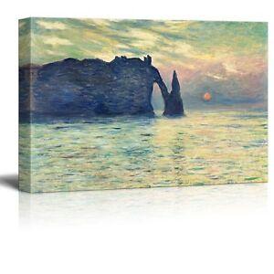 "The Cliff, Etretat, Sunset by Claude Monet - Canvas Print Wall Art - 12"" x 18"""