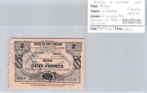 Northern Avesnes & Solesmes Poix Du Nord 2 Francs 30.7.1916 N #93546 Pirot