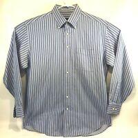 Scott Barber Mens Button Down Dress Shirt Long Sleeve Blue Striped Size Large