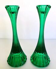 """ANTIQUE PAIR GREEN MOLDED FLUTED GLASS CANDLESTICKS 8"""" TALL HOLLYWOOD REGENCY"""