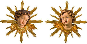 Pair Heads Of Putto Wall With Radially