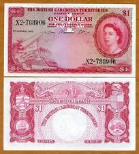 British Caribbean Territories, $1, 2-1-1957, QEII, P-7b,  XF