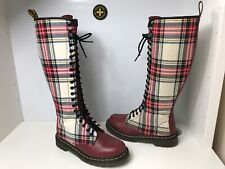 Dr. Martens 1B60 UK4 EU37 Tartan Red Leather 20 Eyes Lace/ Zip Knee High Boots