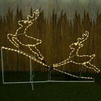 Pre Lit 2 x Reindeer LED Rope Light Up Garden Outdoor Christmas Decoration Frame