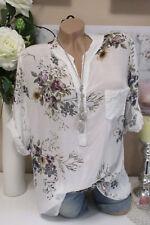 Camisa Pescador túnica blusa Extra Grande Floral Blanco Batik 38 40 42