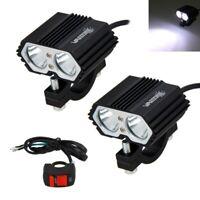 2pcs 30W 12V LED Headlight Motorcycle ATV Driving Fog Spot Bulb Light w/ Switch