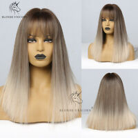 Blonde Ombre Brown Wigs Glueless Cosplay Hair Synthetic Wig with Bangs for Women