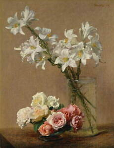 Henri Fantin Latour Roses and Lilies Giclee Art Paper Print Poster Reproduction