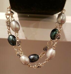 "Michael Dawkins Sterling Silver Cultured Pearl Bracelet, Teal/Gray,  7""L"
