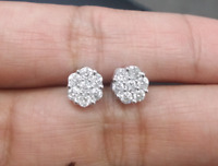 Deal! 0.75ctw Natural Diamond Shaped Halo Cluster Stud Earrings 14K Gold 7mm