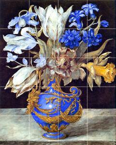 17 x 21.25 Art Blue Vase Flowers Mural Ceramic Colorful Backsplash Bath Tile 254