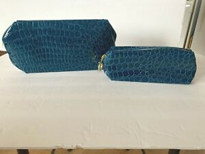 New ESTEE LAUDER Teal Faux Patent Leather SnakeTravel Cosmetic Makeup Case Bag