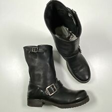 Frye Veronica Short Leather Boots Sz 6 B Black Buckle Slouch