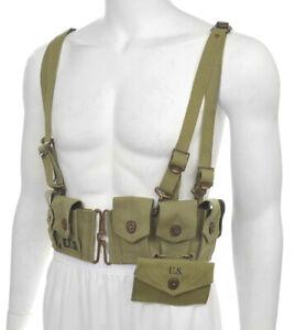 WW2 US M1 Garand M1923 Lt OD Cartridge Belt M1936 Suspenders & First Aid Pouch