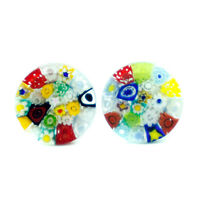 Murano Glass Cufflinks Multi Coloured with Millefiori Circular Patterned