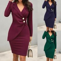 Women Office Long Sleeve Buttons Bodycon Blazer Work Formal Dress Wrap Dress