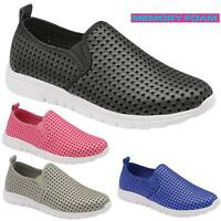 Ladies Get Fit Go Walking Memory Foam Gym Fitness With Holes Trainers Shoes Size