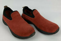 Lands End Womens Shoes 7 B Red Suede All Weather Slip on Shoe #53592