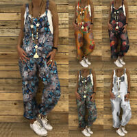 UK Women Overalls Dungarees Suspenders Loose Baggy Jumpsuits Playsuits Plus Size