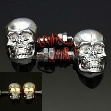2 Chrome Universal Motorcycle Skeleton Head Skull Turn Signal Light Indicator US