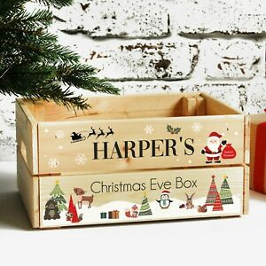 Personalised Children's Christmas Eve Crate, Wooden Christmas Eve Box For Kids