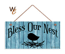 Bless Our Nest Sign, Shabby Door Sign, Glacier Blue 5x10 Rustic Bird & Nest Sign