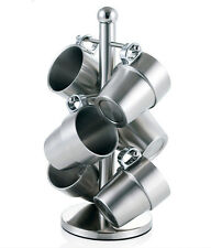 Stainless Steel 7pc Double Layer Coffee Cup Rack Holder Kitchen Bar Decor Set