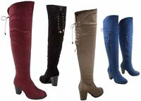 NEW Women's Fashion Almond Toe Chunky Heel Thigh High Boots Shoes Size 5.5 - 10