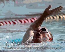 Swimming Motivational Poster Art Print Swimwear Swim Youth Women's Mens  MVP423