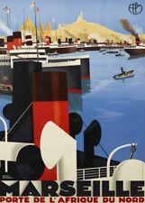 Marseille Cote d'Azur, france french travel poster. ART DECO 250gsm A3