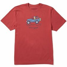 Life is Good Men's Off-road Jake Vintage Crusher Tee, Faded Red