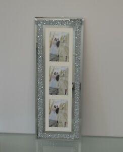 CRUSHED CRYSTAL GLITTER DIAMANTE PHOTO FRAME 3 PHOTOS 4x6 inch Photo (63cmx24cm)