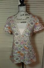 Mountain Lake Retro Floral Womens Blouse  Small Short Sleeve multicolor Shirt