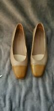 Amalfi Low Heel Tan Leather Pumps W/ Patent Cap Toe Size 5.5B VGUCsb