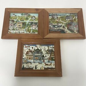 VTG 3 Village Canvas Acrylic Paintings  Art Primitive Americana  by Spencer