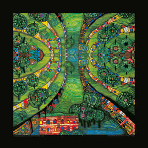 "Kunstdruck Hundertwasser "" Green Town "" 48x48 cm"