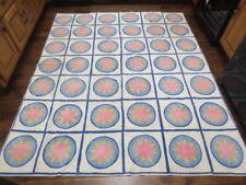 "Antique Vtg Punch Needle Rug 88"" x 74"" Geometric Pink Flower Pattern HEAVY"