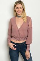 Women Blush Mauve Sheer Lace Blouse Top Shirt Plunge V Neck Casual Shirt Urban