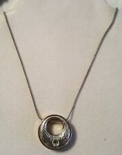 Brighton retired Aries pendant necklace silver gold chased  Swarovski B128
