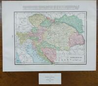 "Vintage 1900 AUSTRIA & HUNGARY Map 14""x11"" Old Antique Original VIENNA BUDAPEST"
