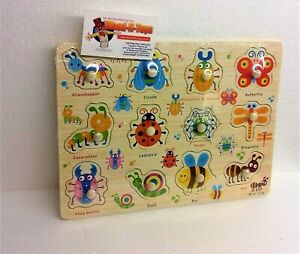 Wooden Insect Peg Puzzle Jigsaw Educational Toys for 2-4 Year Olds Baby Toddlers